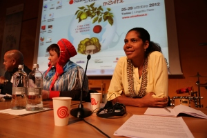Savé PNG's Jennifer Waiko speaking at the Slow Foods festival in Italy last month